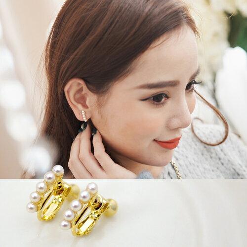 (預購)(特賣)ECO安珂.優雅秀氣珍珠直線排列 夾式耳環【2-1419】