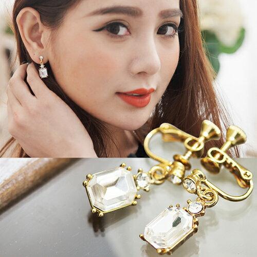 (預購)ECO安珂.復古小華麗方形寶石 夾式耳環【2-1423】