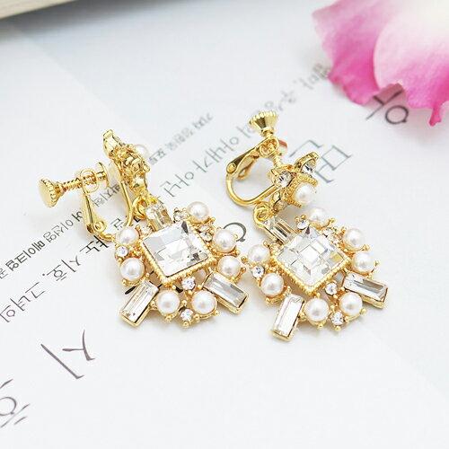 (預購+現貨)垂掛華麗不規則方鑽夾式耳環【2-1427】