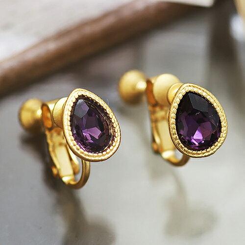 ECO安珂.復古圖騰綴水滴紫寶石 夾式耳環【2-1457】