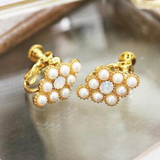 (現貨)ECO安珂.菱形小珍珠墜蛋白石 夾式耳環(2色)【2-1487】