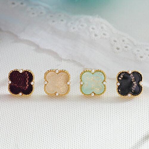 (特賣)ECO安珂.蕾絲紋花型墜珍珠 耳環(4色)【2-1500】
