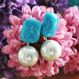 ECO安珂.土耳其藍造型石墜珍珠 耳環【2-1548】