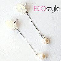●ECO安珂●花猴推薦.精靈女孩天然珠貝玫瑰直鏈珍珠垂墜耳環【E2-276】