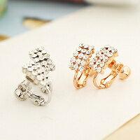(預購+現貨)【E2-737】優雅時尚經典長方形綴鑽夾式耳環(3色)