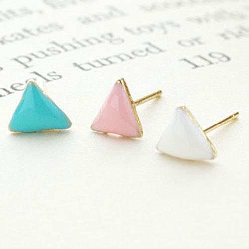 ^( ^)~ECO安珂~~E2~990~濃情糖果 粉嫩色三角形 耳環^(3件組  不可改夾