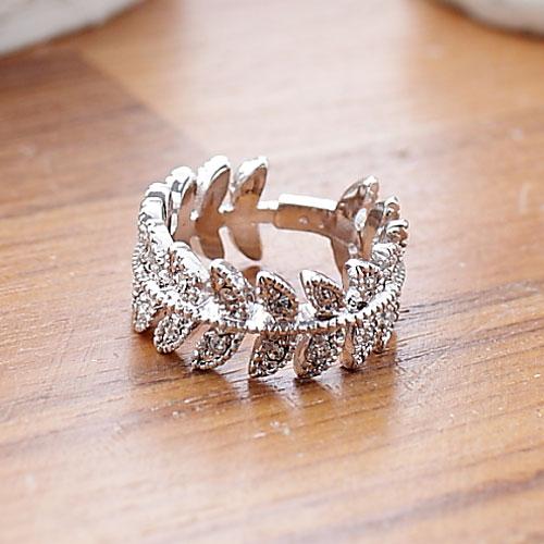 (預購+現貨)枝葉鑲水鑽戒指(2色)【4-211】