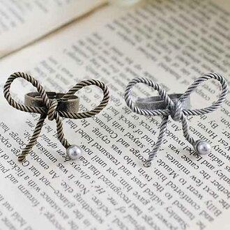 (特賣)●ECO安珂●【E4-217】甜美記號 麻繩感大蝴蝶結綴珍珠 戒指