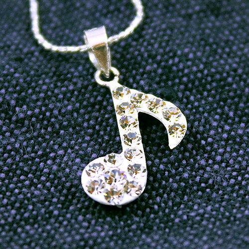 (預購+現貨)音符造型鑲滿鑽925純銀項鍊【9-198】