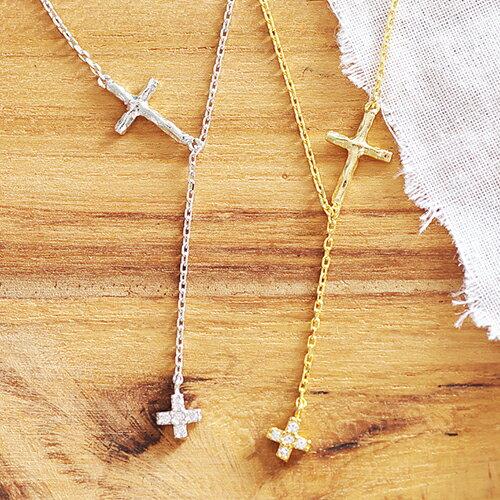 ^(  ^)ECO安珂.純銀細緻小鑽十字架Y字鍊 鎖骨項鍊^(2色^)~1~1409~ ~