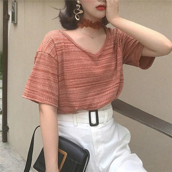 T恤素色條紋V領復古學院風短袖T恤【MYFR926】BOBI0621