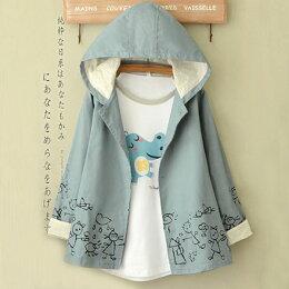 風衣外套 塗鴉可愛圖案蕾絲連帽外套 衣服日系 預購ibella 艾貝拉