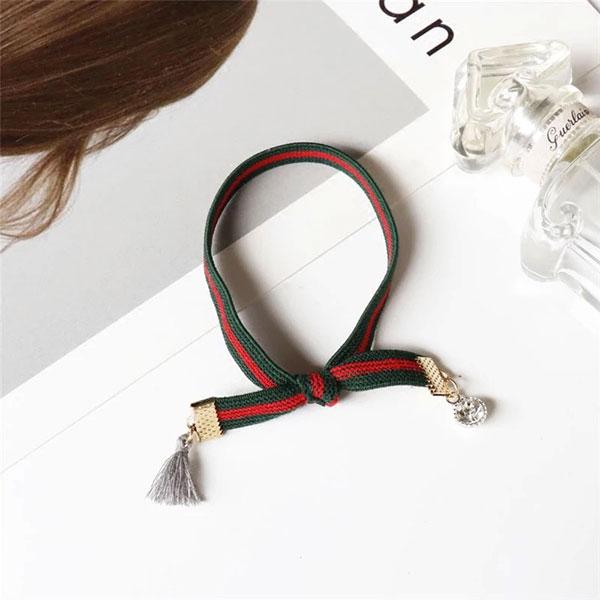 雙G 大牌 髮圈 髮繩 彈性繩 紅綠 流蘇 水鑽 髮帶 髮飾 韓國 明星款 百搭 手環 聖誕節 婚宴 過年 ANNA S.