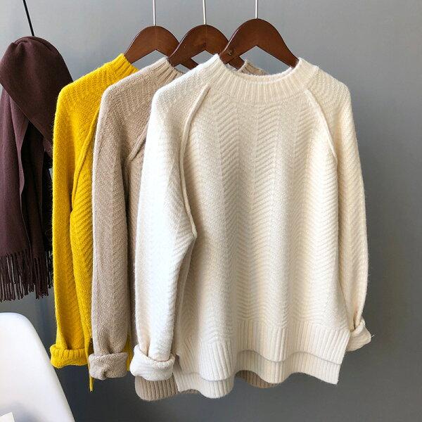 加厚三色純色毛衣針織衫上衣樂天時尚館。現貨。[全店免運]