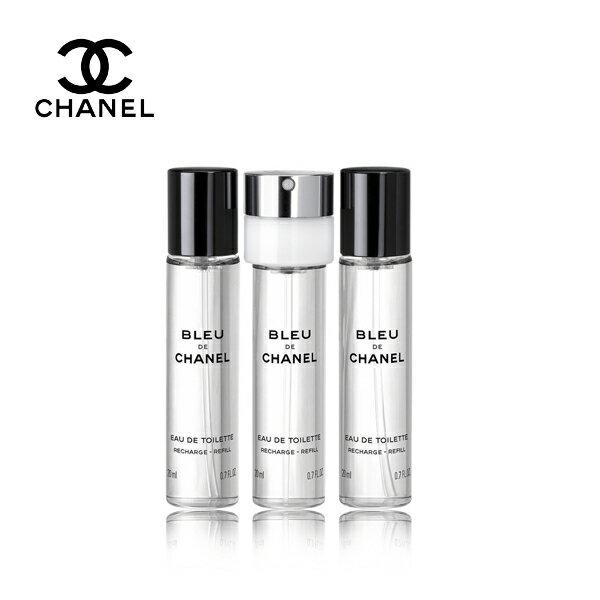 CHANEL 香奈兒   BLEU DE CHANEL   藍色男性隨身淡香水3x20ml(補充蕊芯)《Umeme》