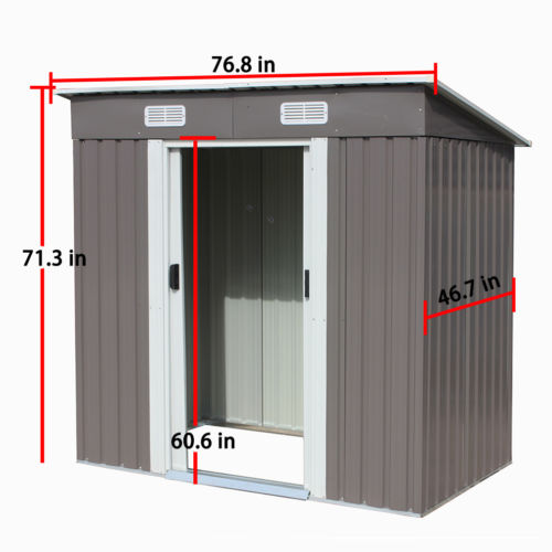4x6 Feet Outdoor Steel Metal Garden Storage Shed Tool House W/ Sliding Door  1