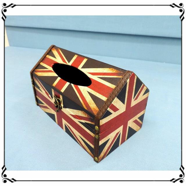 屋型面紙盒《LJ12》英倫風 英國國旗皮革面紙盒 木製面紙盒 屋型收納盒◤彩虹森林◥