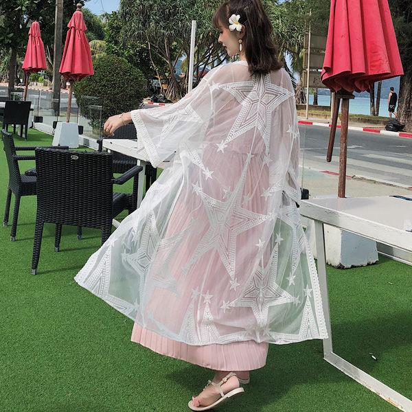 PS Mall 網紗星星刺繡透視輕盈長款防曬衣蕾絲衫罩衫 上衣 【T354】 2