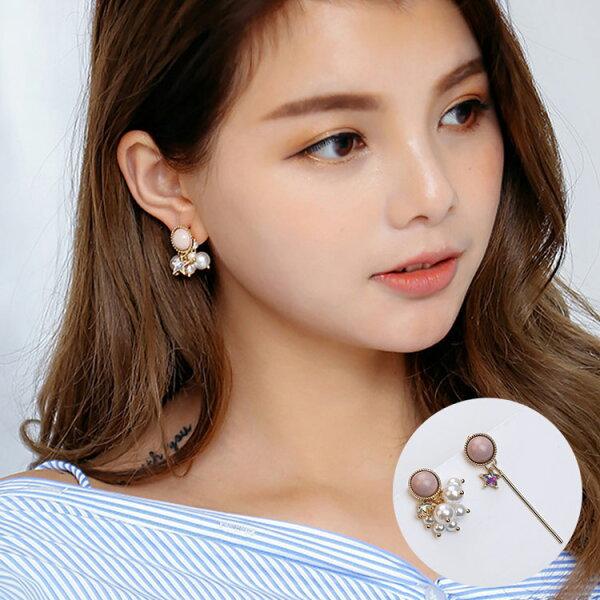 77美妝:星星水鑽珍珠不對稱耳環耳針MHA82149
