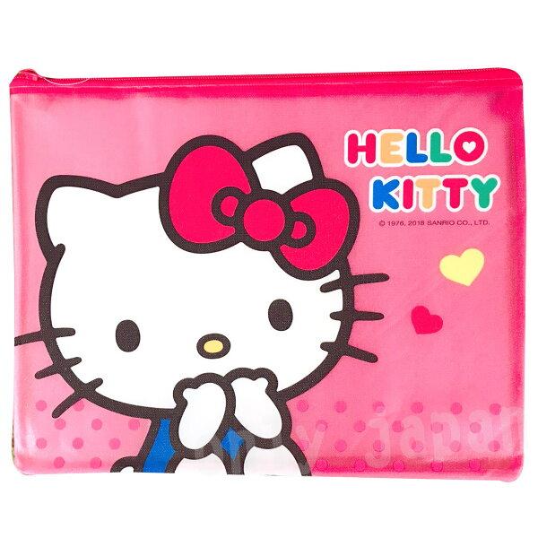 【真愛日本】18051000013磨砂網格袋L-KT閃亮紅凱蒂貓kitty拉鏈袋收納袋文件袋網格袋