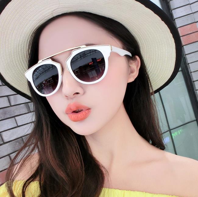50%OFF【J006098GLS】哈蕾娜同款D家墨鏡太陽眼鏡 附眼鏡盒 防紫外線 明星款 反光鏡面 - 限時優惠好康折扣