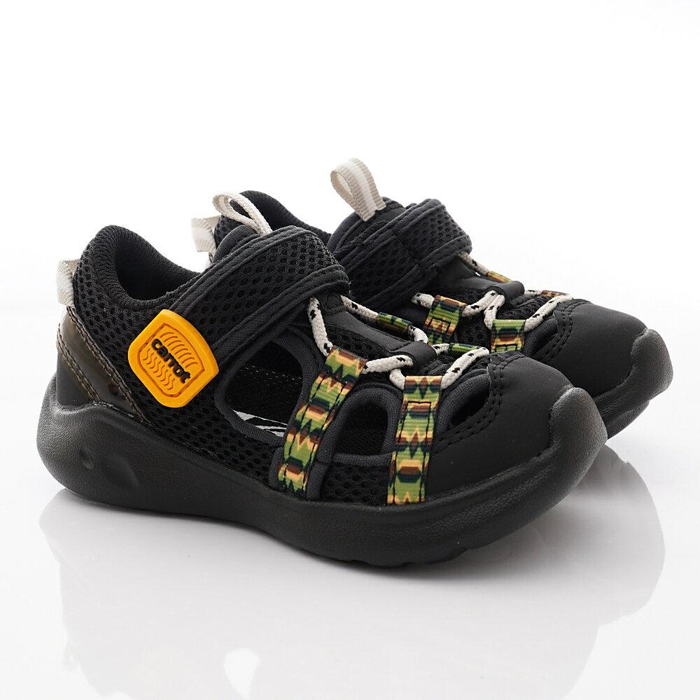 日本月星Moonstar機能童鞋Carrot可機洗系列寬楦玩耍速乾護趾涼鞋款22906黑(中小童段) 618購物節