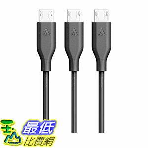 [106美國直購]Anker[3-Pack]PowerLineMicroUSB(3ft)-ChargingCable(Black)充電線傳輸線
