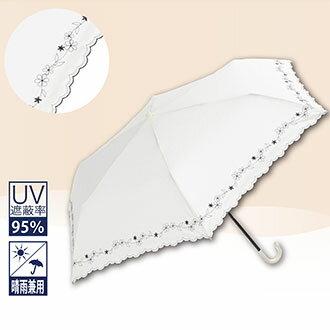 晴雨兼用傘【日本直輸入】Because フラワー刺繍 ホワイト 紫外線遮断率95%