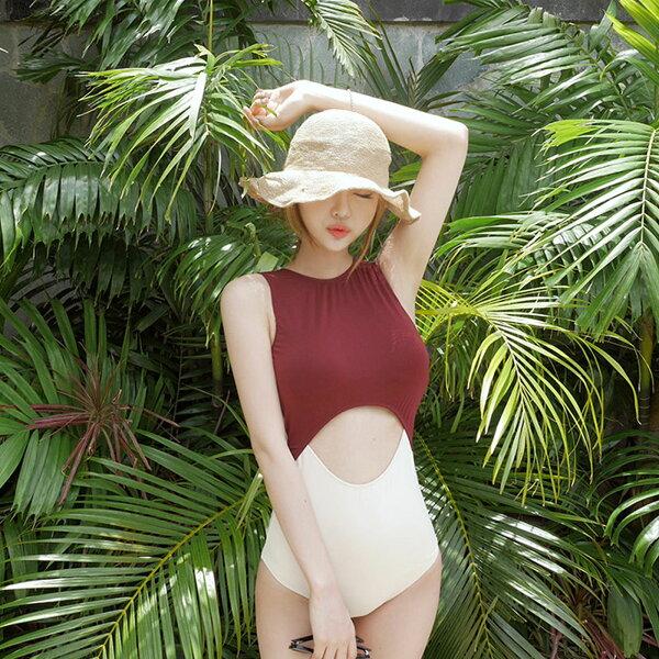 泳衣韓國撞色性感三角高腰遮肚連體式比基尼泳衣【O3461】雙兒網☆