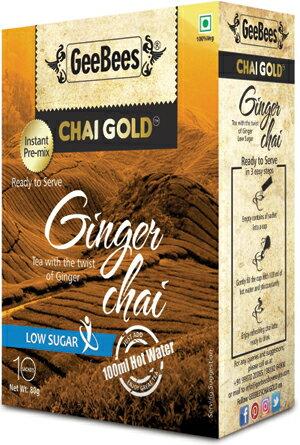 印度即溶奶茶(薑母口味/微糖)  Ginger Instant Tea Premix (Unsweetened) GEEBEES 14gm x 10