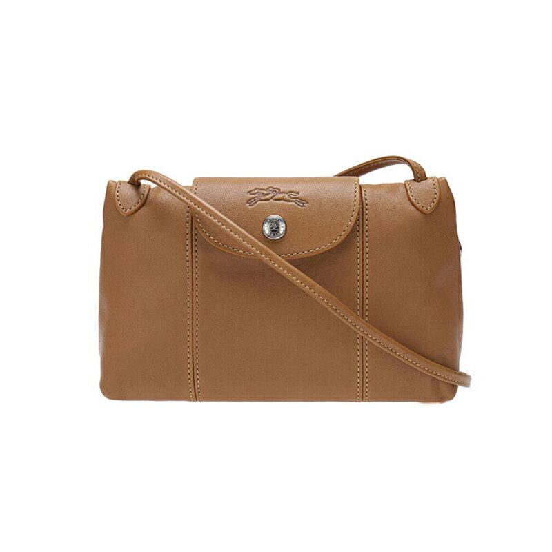 LONGCHAMP 1061 737 116 女款女包羊皮單肩斜挎包自然色棕色