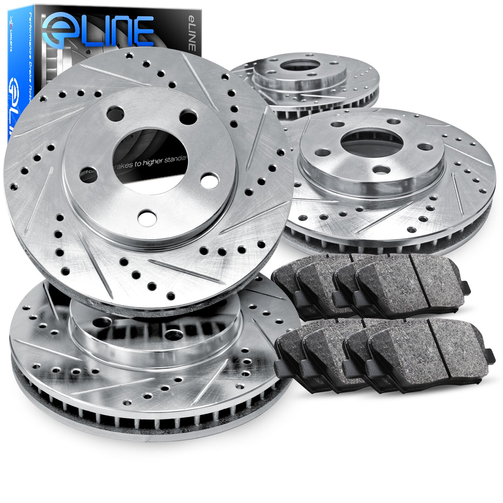 Front Cross-Drilled Slotted Brake Rotors Disc and Ceramic Pads Camaro,Firebird