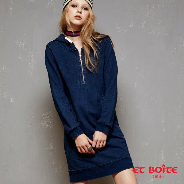 【專櫃新品免運↘】率性連帽拉鍊設計丹寧連身裙-BLUEWAYETBOiTE箱子