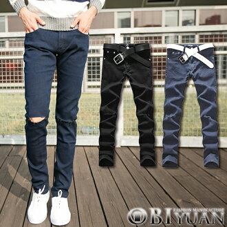 牛仔褲【ZQ3738】OBI YUAN韓版丹寧原色刀割破壞刷破設計牛仔褲共2色