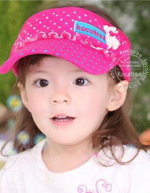 Kocotree◆時尚可愛蕾絲小熊字母點點兒童遮陽帽空頂帽-玫紅