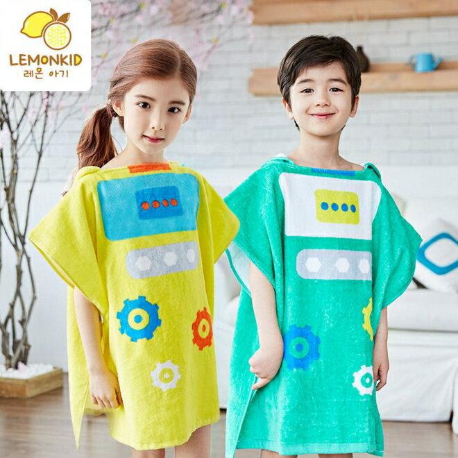 Lemonkid◆可愛機器人卡通造型圖案兒童浴巾浴袍