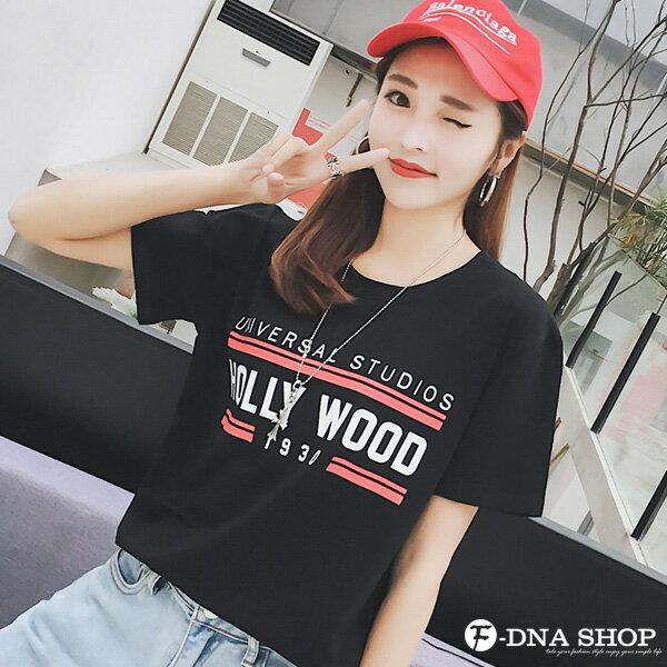 F-DNA★HOLLYWOOD撞色英文圓領短袖上衣T恤(3色-M-2XL)【ET12715】 4