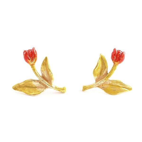 〔APM飾品〕日本Palnartpoc春綻放艷紅鬱金香耳環
