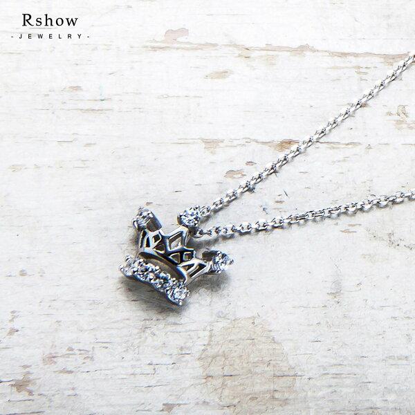 【RSHOW瑞秀】Cinderella仙杜瑞拉小皇冠綴鑽鎖骨項鍊★S925純銀飾品