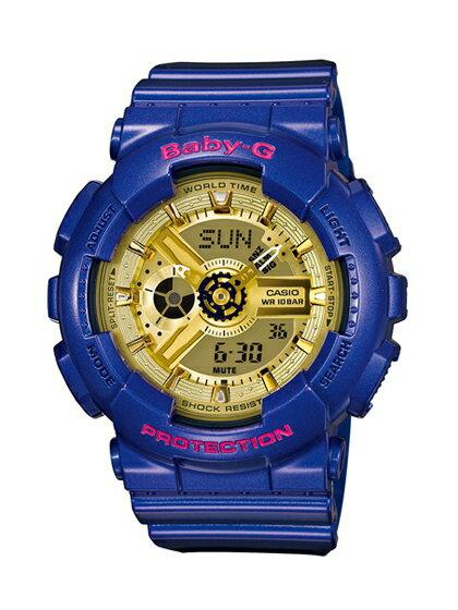 CASIO BABY-G BA-111GGC-2A藍金少女時代聯名雙顯流行腕錶/金面43.4mm