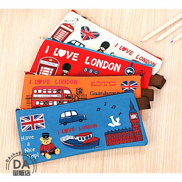 《DA量販店》顏色隨機 倫敦 衛兵 帆布 筆袋 鉛筆盒 鉛筆袋 化妝包 造型(78-4265)