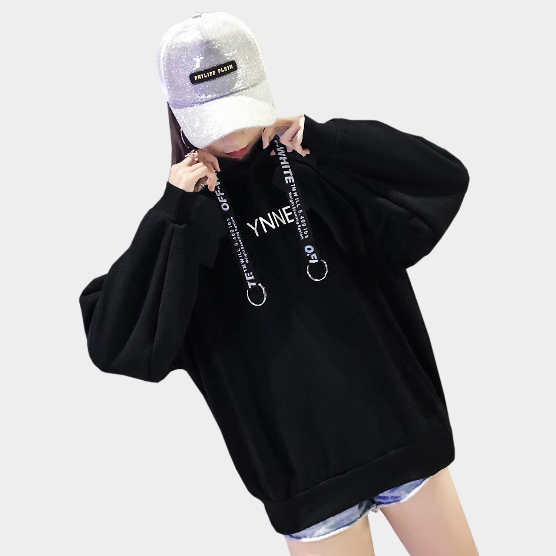 長版帽T--休閒印花金屬圓環羅紋口袋連帽保暖刷毛上衣(黑.紅.綠XL-3L)-X315眼圈熊中大尺碼 2