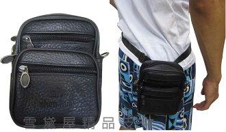 ~雪黛屋~Zhen-hua 腰包5.5吋手機穿過皮帶外掛肩背斜側隨身物品專用100%進口牛皮革拉鍊主袋口 #8641