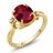 2.53 Ct Oval Red Created Ruby White Created Sapphire 18K Yellow Gold Ring 0
