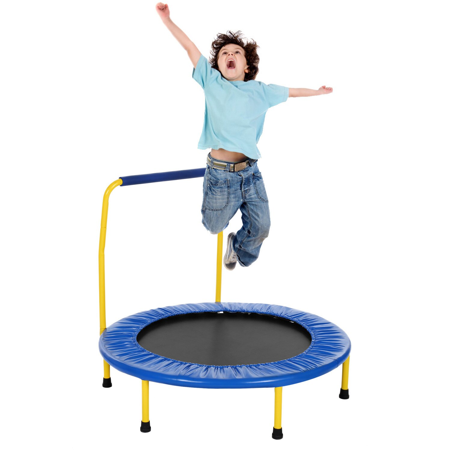 Kids Foldable Durable Construction Safe Trampoline with Padded Frame 2
