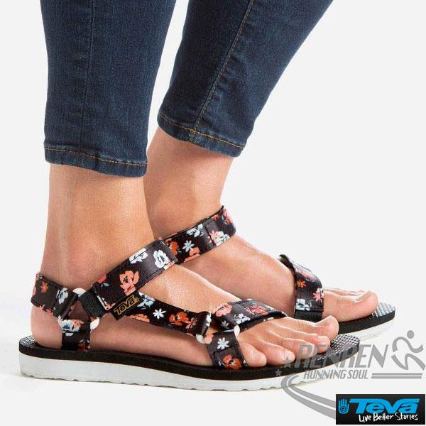 TEVA女運動涼鞋OriginalSandalFloral(黑*橘花)透氣排水性耐磨抗菌