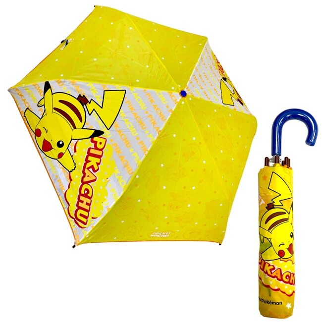 【日本正版】皮卡丘 輕量型 晴雨傘 附傘套 摺疊傘 雨傘 折傘 PIKACHU 寶可夢 神奇寶貝 - 059715