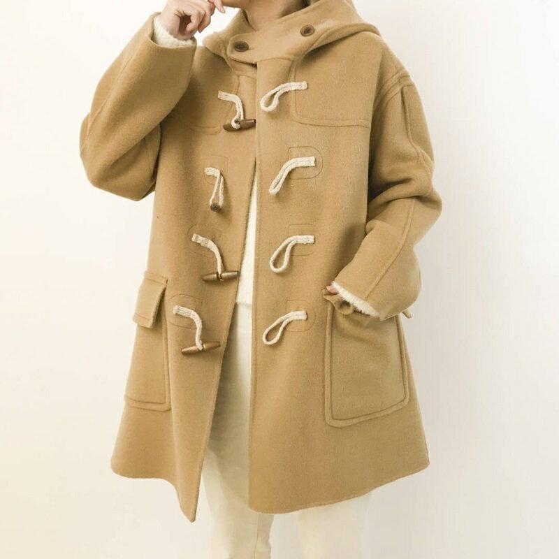 毛呢大衣羊毛外套-短版寬鬆連帽牛角扣女外套2色73wb48【獨家進口】【米蘭精品】 1