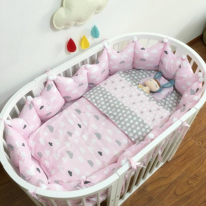 【純棉】嬰兒床包-粉/藍雲朵