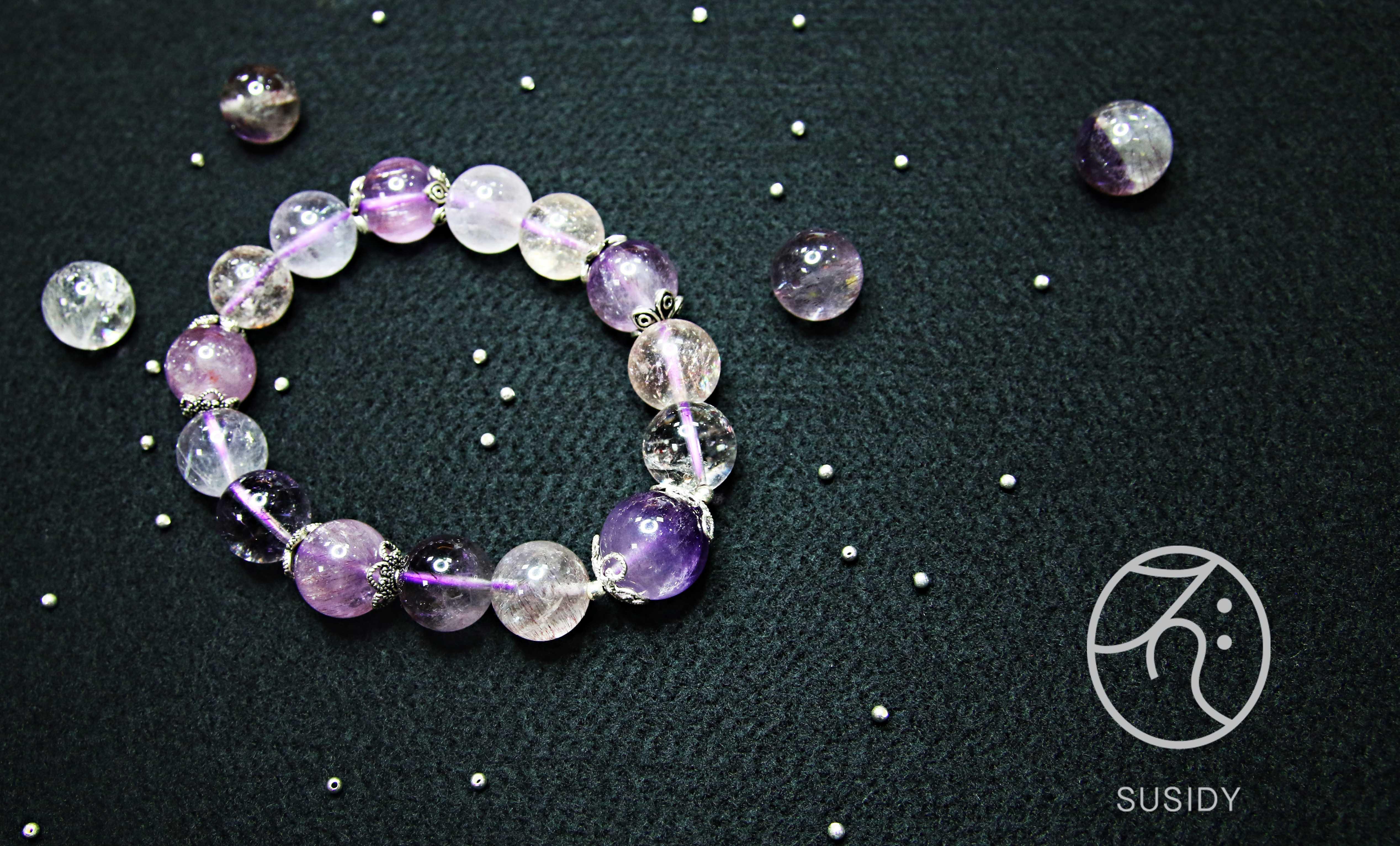 SusidyDesign -  薰衣草 紫色超七 水晶 手鍊